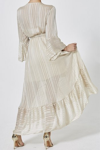 VANESSA DRESS BEIGE METALLIC
