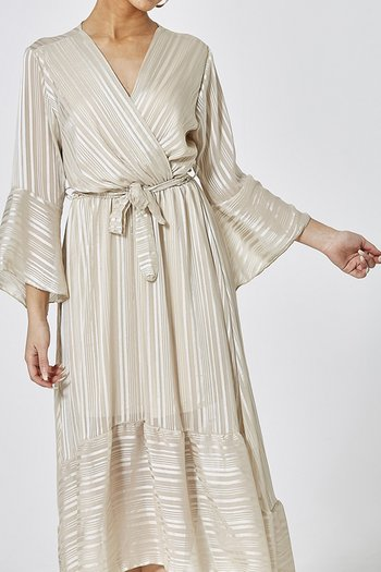 VANESSA DRESS BEIGE METALLIC