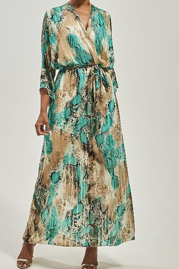 VANESSA  DRESS GREEN SNAKE
