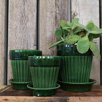 Krukan Simona från Bergs Potter smaragd grön med fat - 14 cm eller 16 cm 385-429