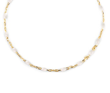 Letters beaded neck 40-45 white gold
