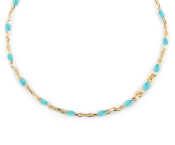 Beaded neck 40-45 turqoise gold