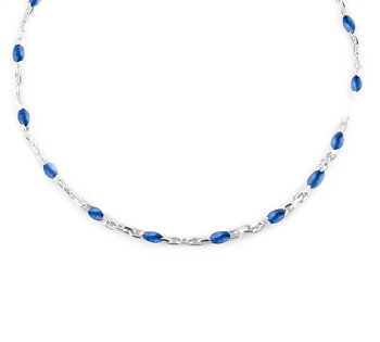 Beaded neck 40-45 blue silver
