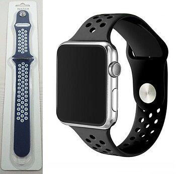 Silikon armband till Apple Watch - Blå & Vit