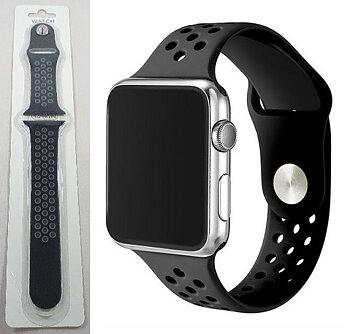 Silikon armband till Apple Watch - Svart & Grå